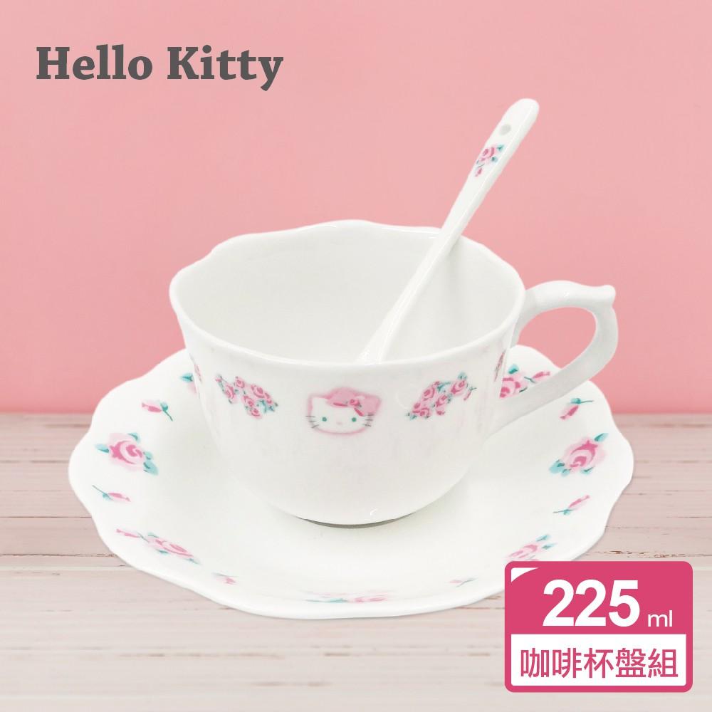 【Sanrio三麗鷗】凱蒂貓優雅玫瑰骨瓷咖啡杯盤3件組(1杯+1盤+1攪拌匙)  225cc (原價:720)〔特價品〕