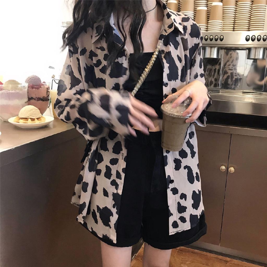 【免運】豹紋防曬襯衫上衣女2020新款設計感港味薄開衫 長袖襯衫 外套