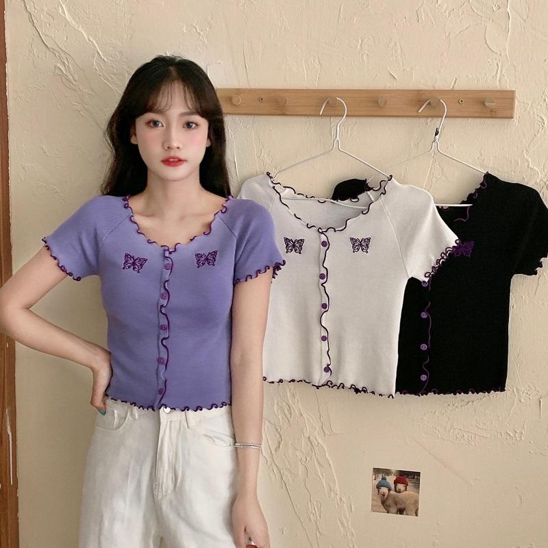 【免運】新款蝴蝶刺繡短袖 針織衫甜美木耳邊修身彈力打底衫女生衣著薄款上衣紐扣短版小開衫