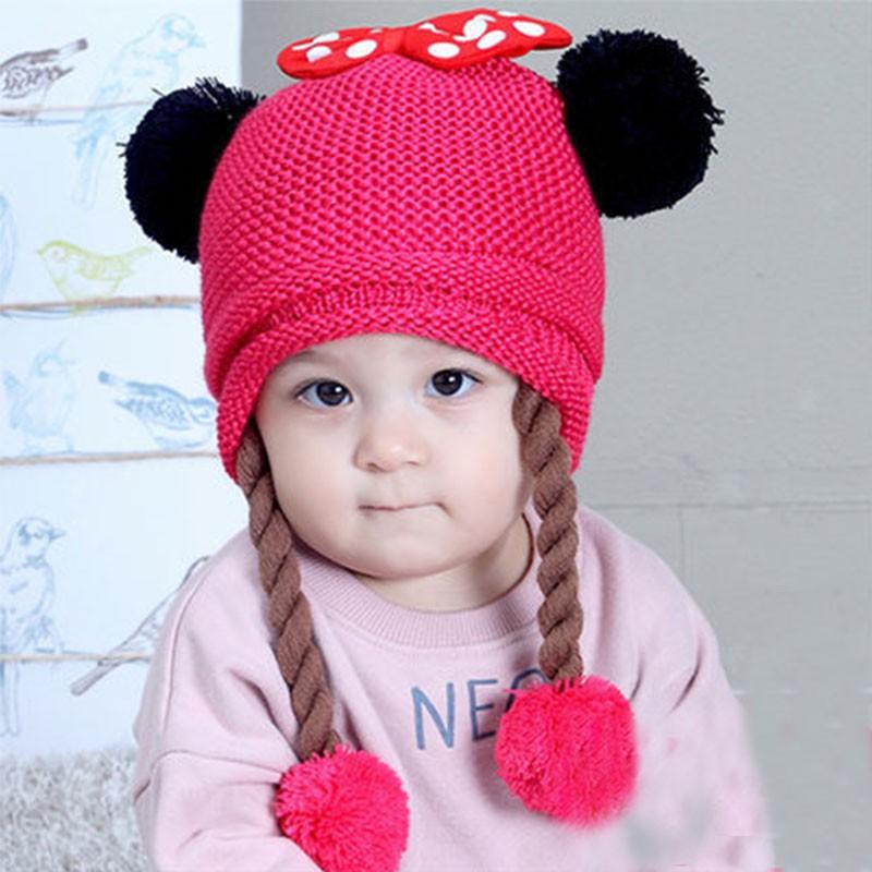 嬰兒帽子 女寶寶可愛保暖護耳帽 針織毛線帽 韓版女童公主套頭辮子帽【IU貝嬰屋】