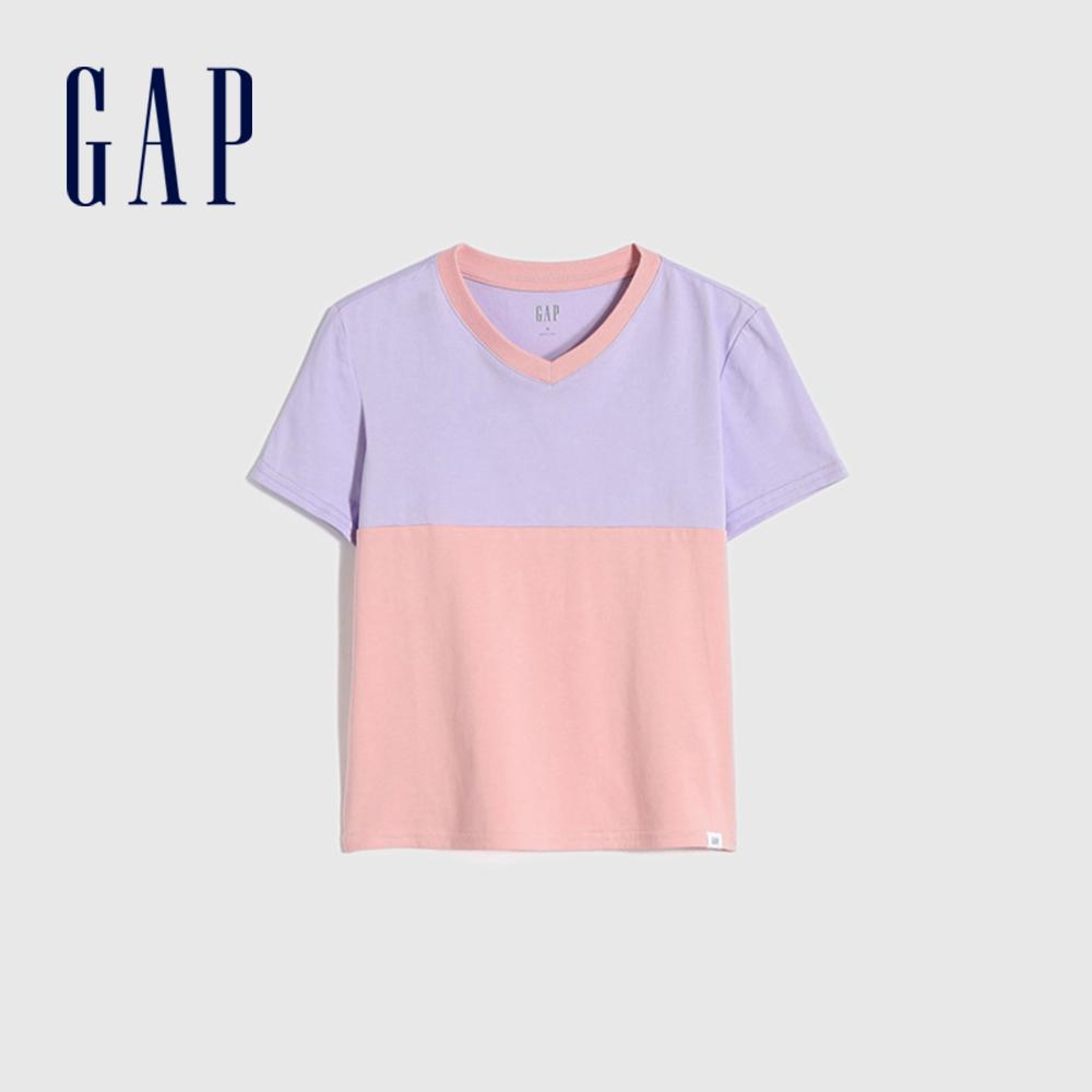 Gap 女童 純棉撞色V領短袖T恤 854571-粉色