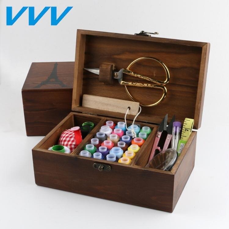 限時下殺-針線盒套裝針線包家用韓國縫紉線針線收納盒十字繡工具實木針線盒 全館免運