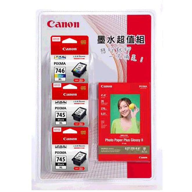 Canon 745/746 墨水相紙組( 黑XL x2 +彩XL x 1+相紙 x1 ) W121233