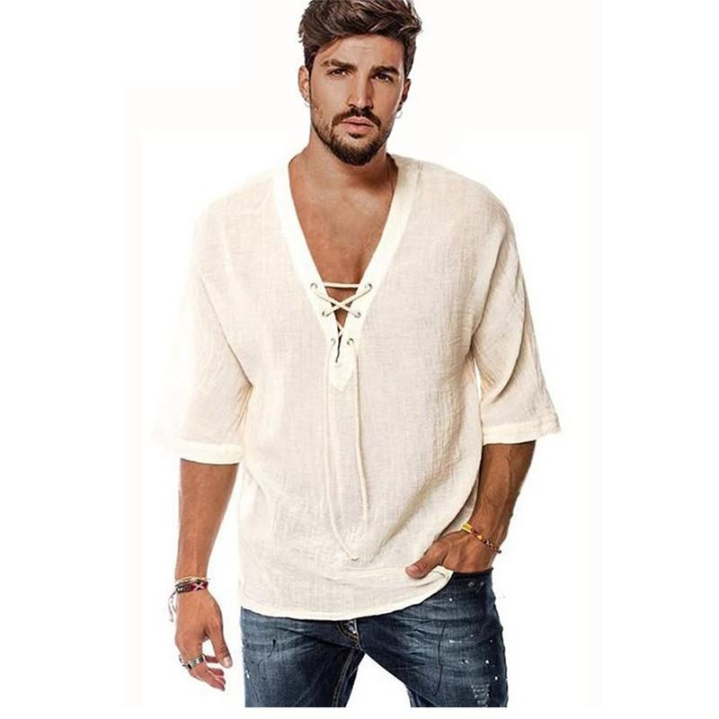 男士胸口系带 中袖T恤印花衬衫