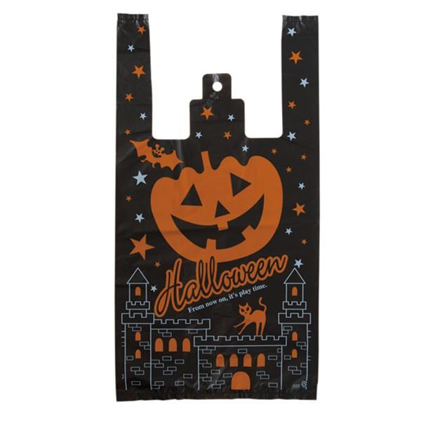 萬聖節南瓜城堡手提黑色塑膠袋 (1入)禮品袋 包裝袋【HW0116】《Jami》