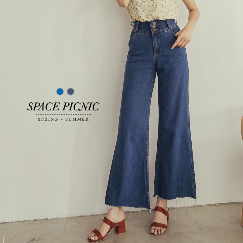 Space Picnic|高腰三腰排扣單寧牛仔寬褲(現貨)【C18051114】