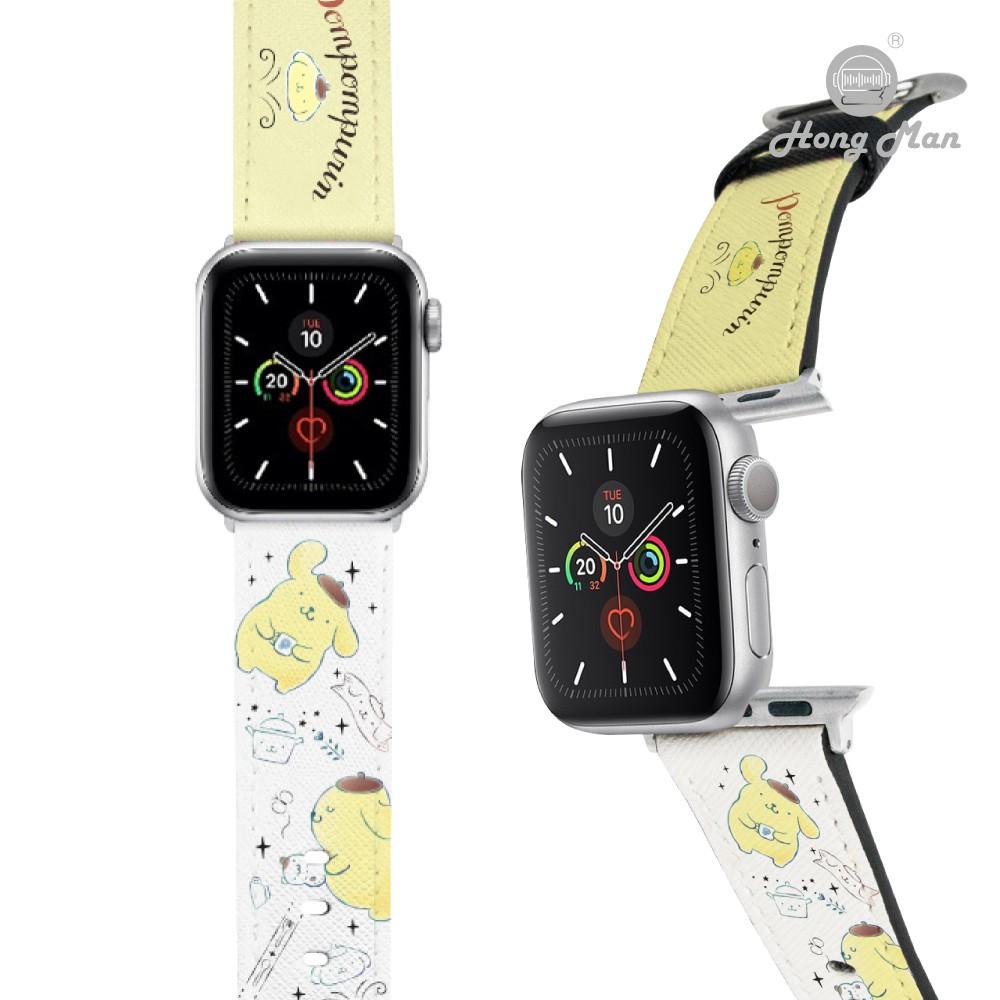 【Hong Man】三麗鷗正版授權 Apple Watch 皮革錶帶 布丁狗