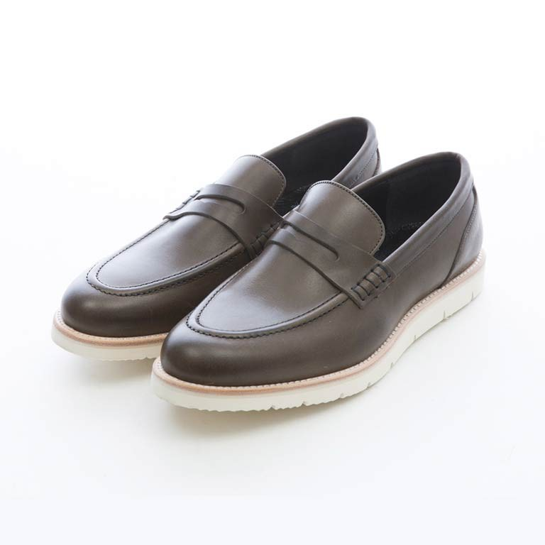 ARGIS 超輕量設計單色penny樂福鞋  【31118灰綠】日本手工製