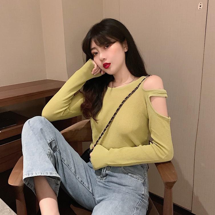 【免運】港味輕薄款針織長袖T恤 新款韓版chic性感透視露肩T恤 韓系圓領緊身顯瘦上衣 打底衫 女裝