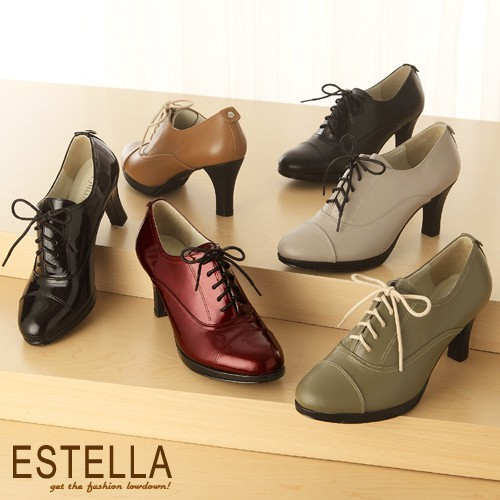 ESTELLA-全真皮綁帶高跟牛津踝靴【EG600004】