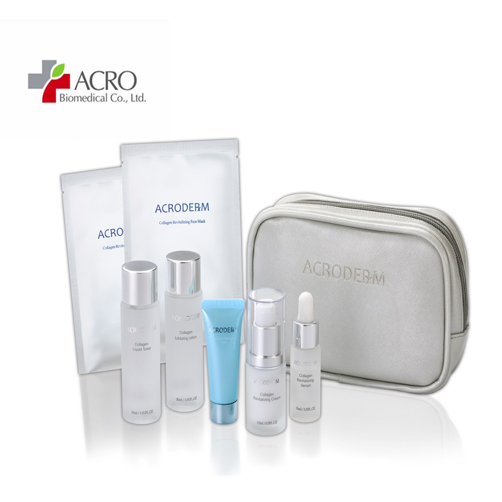 ACRODERM 膠白蛋白保養組(洗顏乳+調理液+化妝水+精華液+乳液+面膜2片)