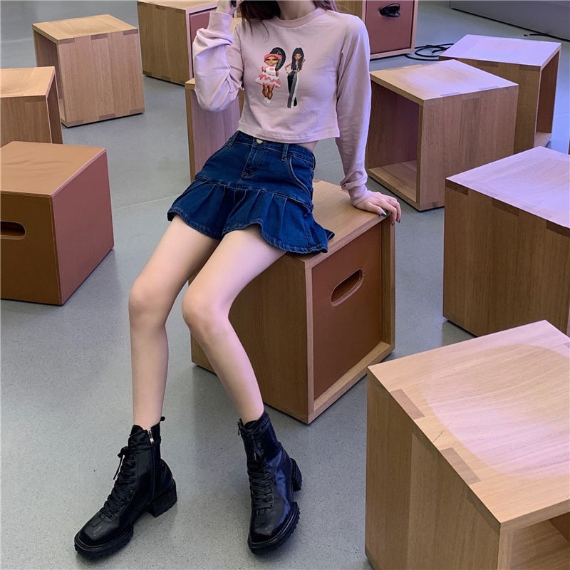牛仔裙 短裙 a字裙 半身裙 牛仔半身裙女短裙夏季新款韓版高腰顯瘦百褶裙百搭A字裙子