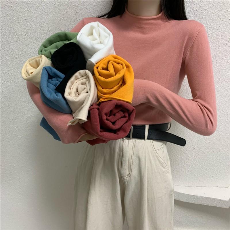 基本款 長袖針織衫 打底衫 素色 女生上衣 休閒  中高領 包芯紗 顯瘦 合身 套頭 長袖 針織衫