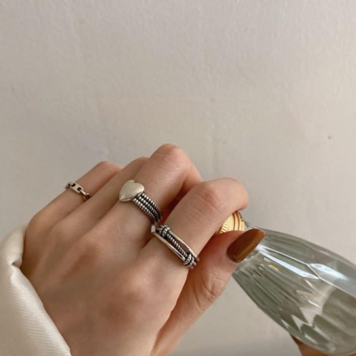 韓國東大門愛心豬鼻子馬蹄戒指 復古泰銀戒指女食指ins跨境潮時尚個性簡約可愛 E918