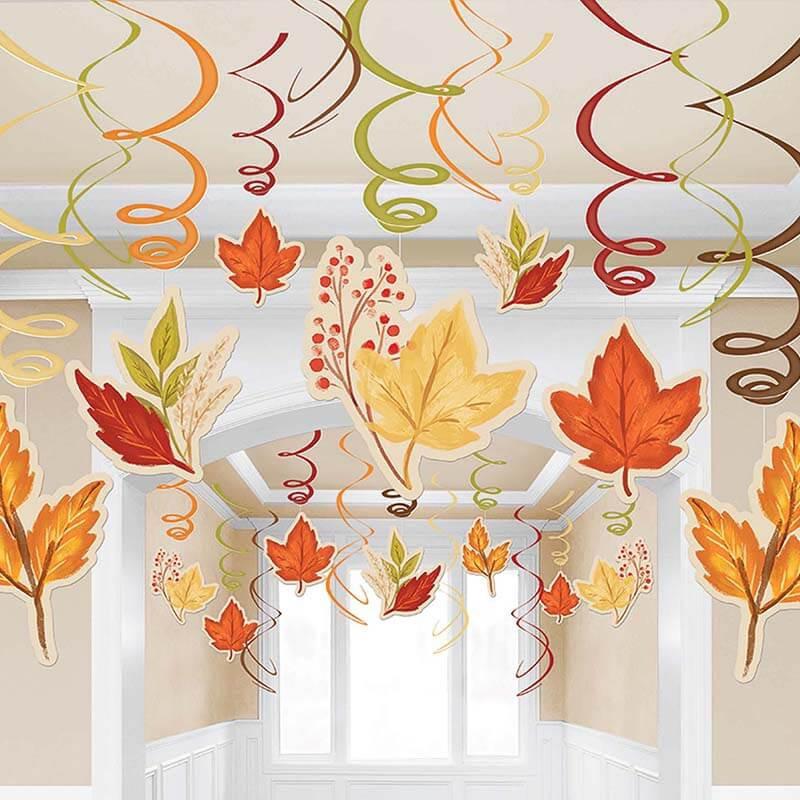 派對城 現貨 【螺旋吊飾30入-楓葉】 歐美派對 派對裝飾 吊飾 螺旋 天花板吊飾感恩節 派對佈置 拍攝道具
