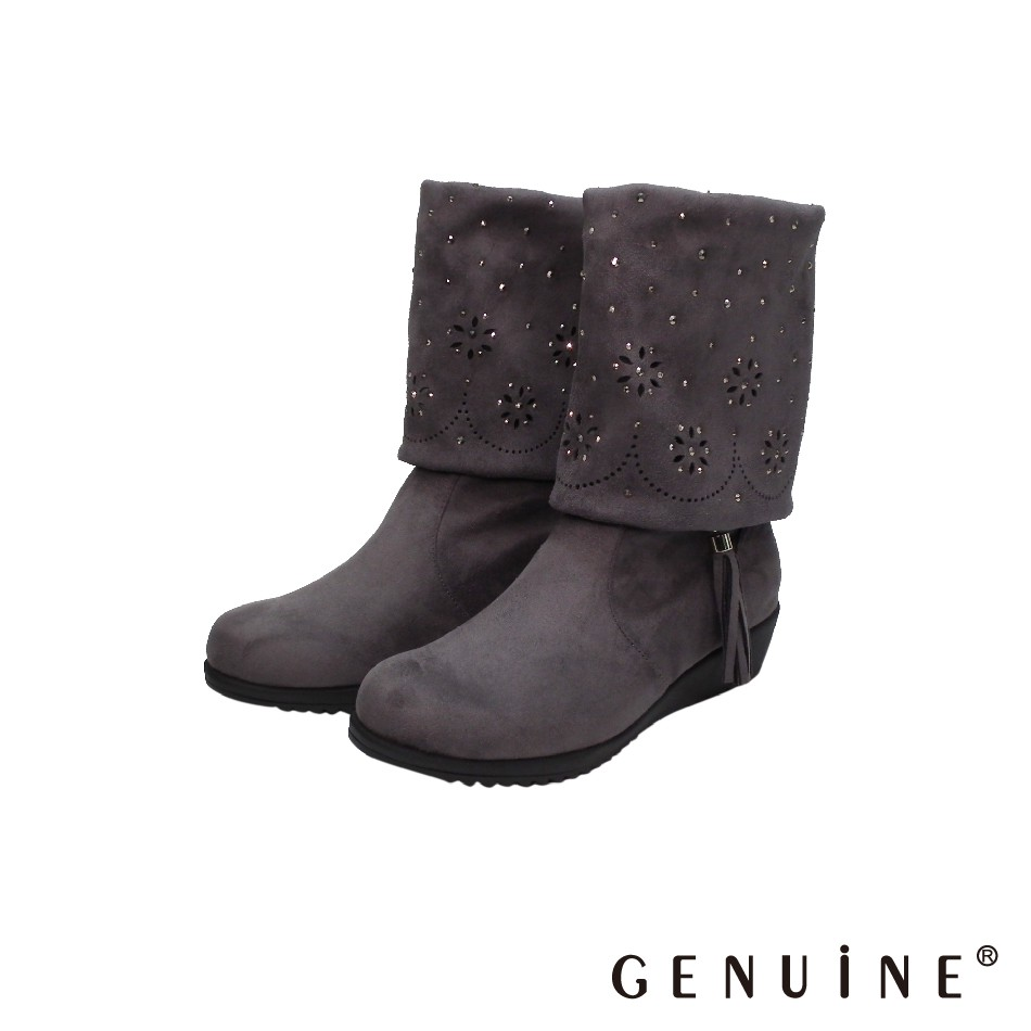 GENUINE 女款 灰色 麂皮絨布特色中筒靴-G8904