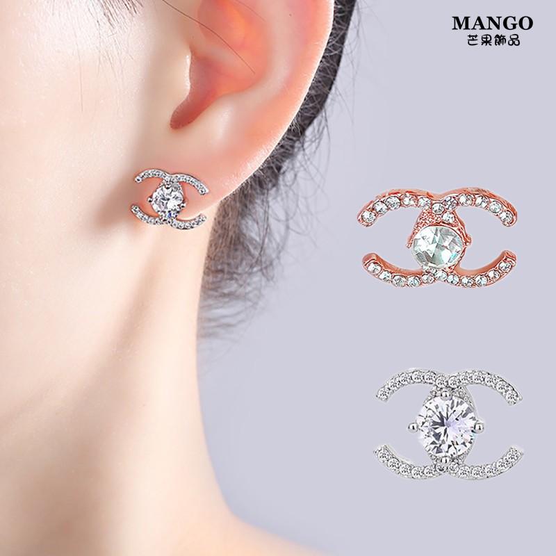 【銀針】鑲鑽雙C字耳環 韓國高級感小香風雙c款潮小巧氣質簡約耳釘 T1326