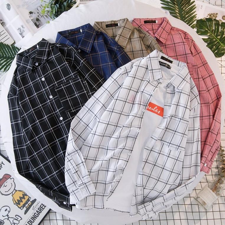 【M世代】格紋長袖襯衫 情侶款 大尺碼翻領襯衫 休閒長袖衣服 (JD1835)