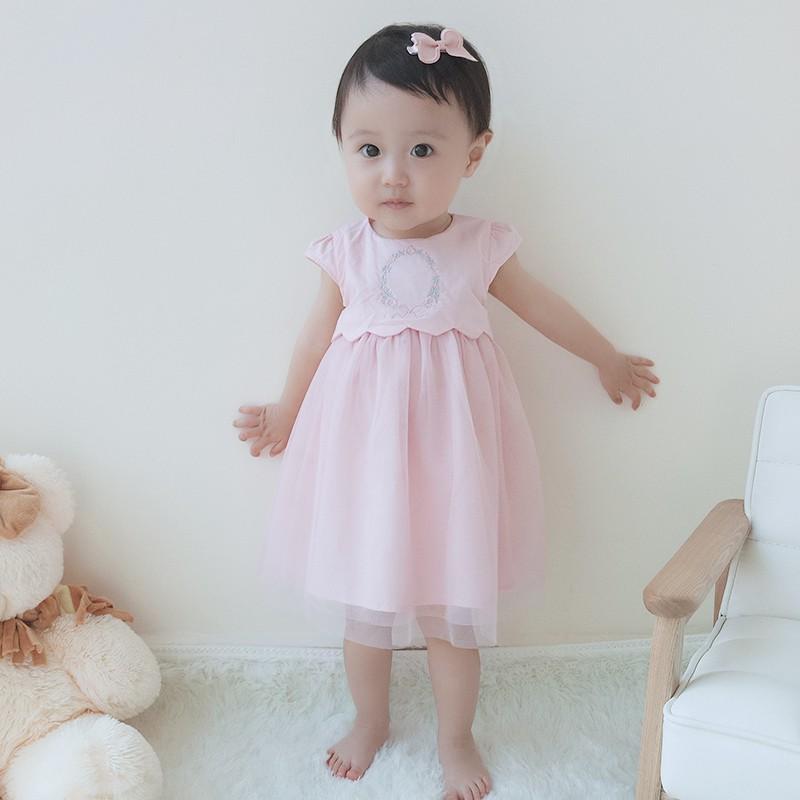 Vlinder童裝女童粉紅色花淑女無袖芭蕾舞連衣裙