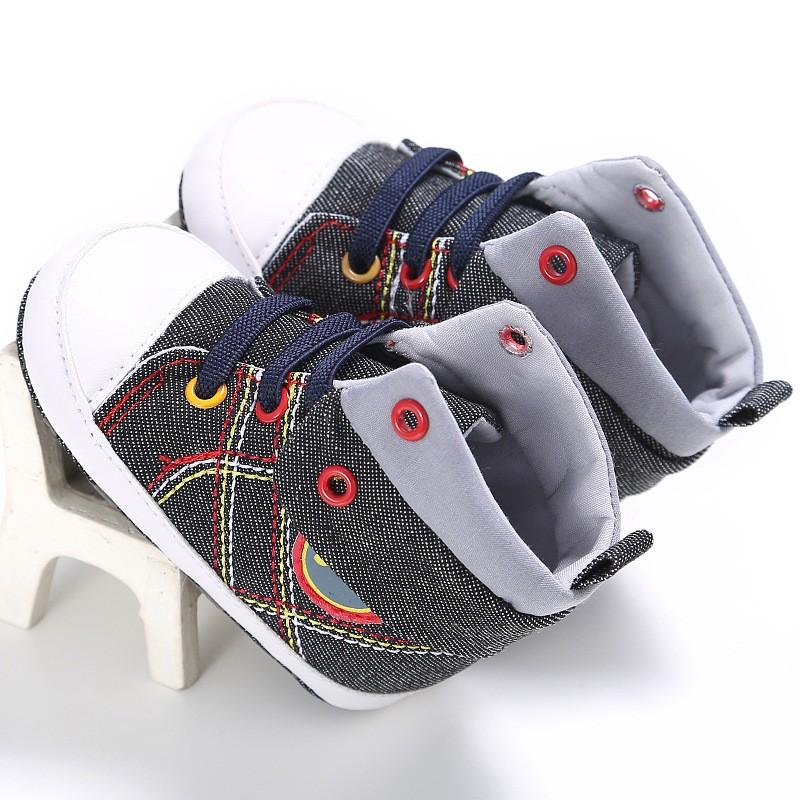 母嬰 童  新款童鞋嬰幼童寶寶鞋嬰兒鞋外貿0-1歲男寶寶春秋高幫帆布嬰兒學步鞋
