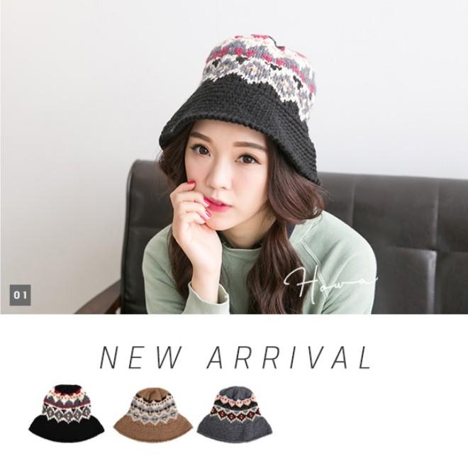 韓國製 民族風圖騰毛線編織漁夫帽/圓帽/針織毛帽 共3色《屋外生活》