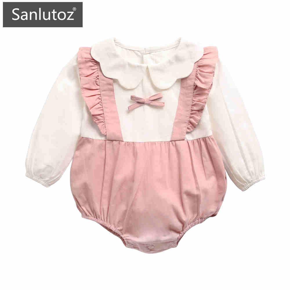 Sanlutoz 長袖棉質女寶寶包屁衣 可愛秋季休閒公主風哈衣