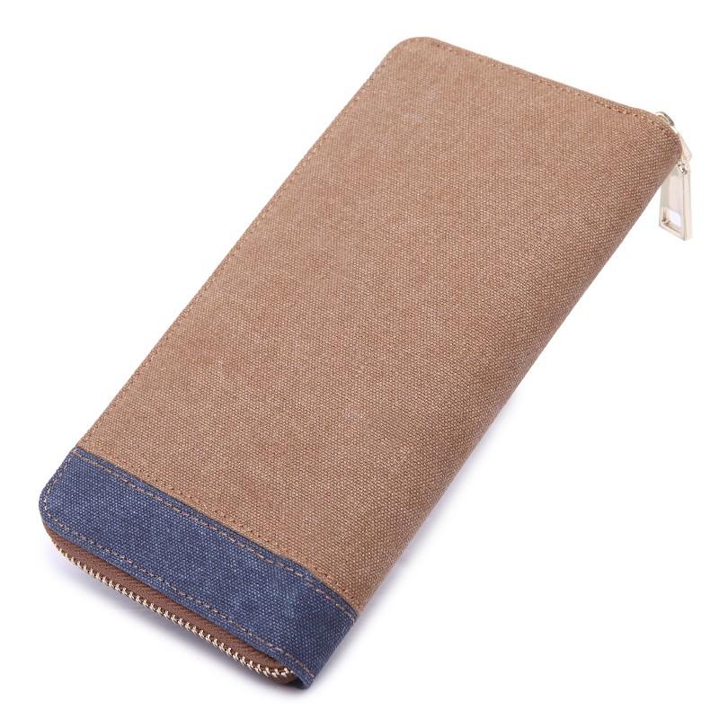 男士帆布錢包長款拉鏈錢夾韓版復古豎款學生零錢包多卡位手拿包潮