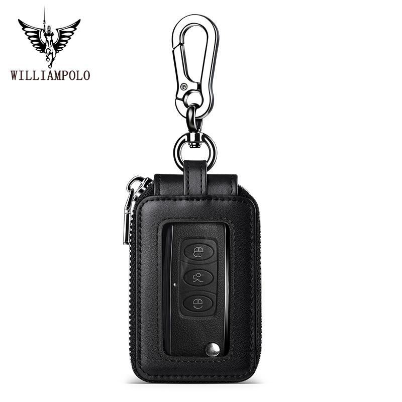 WILLIAMPOLO 英皇保羅 真皮鑰匙包男 通用汽車皮套包 潮牌男腰掛拉鏈鎖匙包 鑰匙扣包 防水鑰匙包 多功能鑰匙包