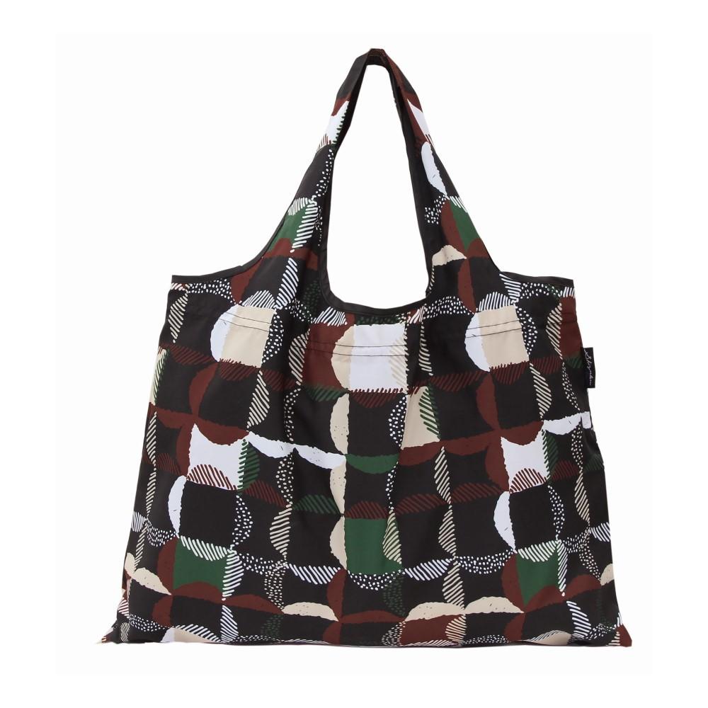 日本派迪 2Way 隨身收納環保購物袋-方格(黑)