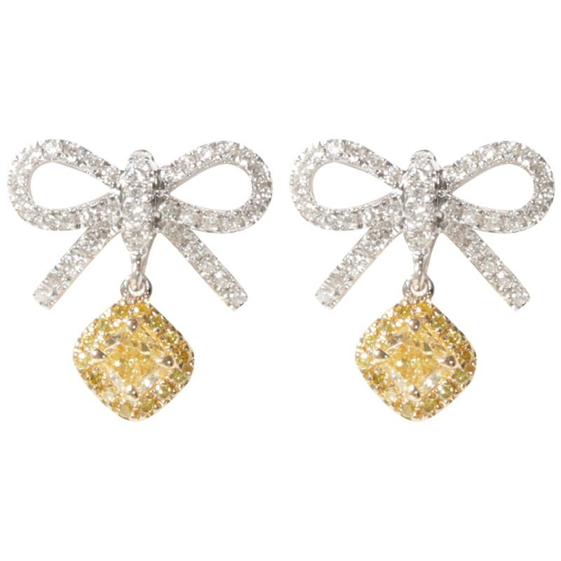 【巧品珠寶】18k金蝴蝶結型滿鑽搭配黃鑽耳墜耳環耳釘