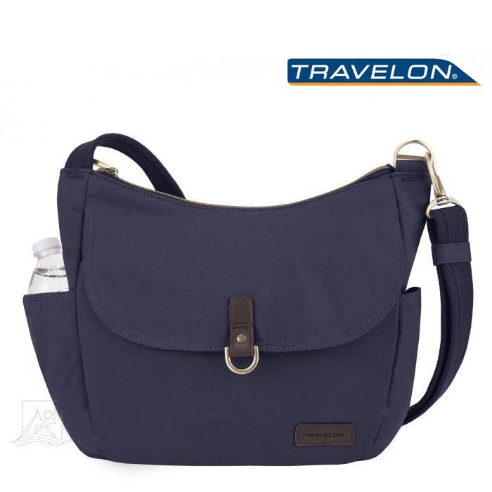 Travelon 美國 RFID COURIER防盜斜背托特包 防搶斜背包 出國 旅遊 靛藍 TL-33303 綠野山房