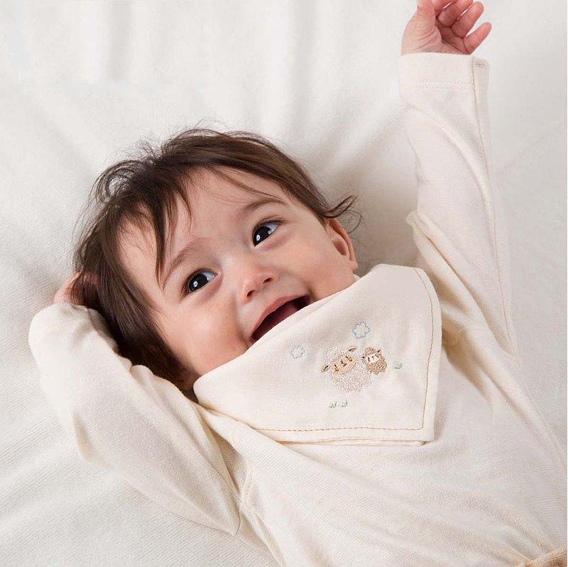 【日本Amorosa Mamma有機棉】嬰兒棉紗圍兜/口水巾 (小羊刺繡 )