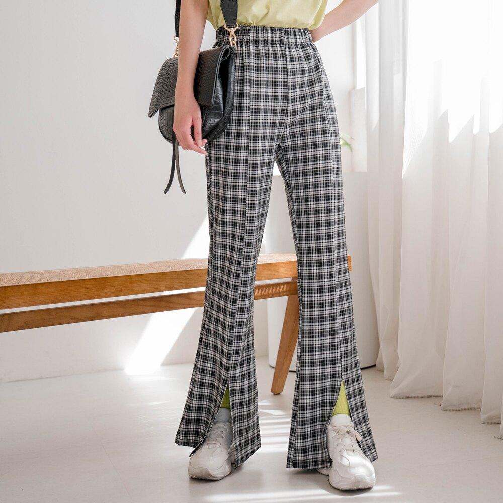 MIUSTAR 涼感舒適 黑白格紋鬆緊腰前開衩喇叭褲(共1色)0427 預購【NJ1153】
