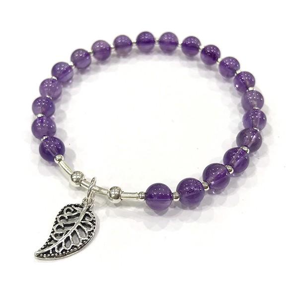 『晶鑽水晶』天然紫水晶 純銀手鍊 約5.5mm 圓珠 氣質款式 智慧 平穩腦波 加強記憶力 情人節 生日 禮物