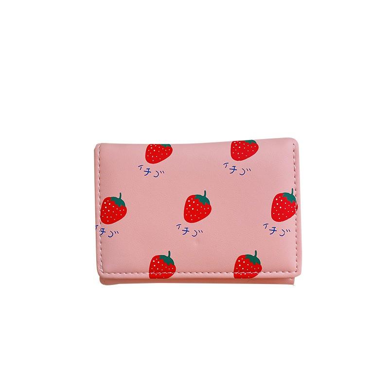 短夾女 Z 日系ins三折PU草莓短款錢包 少女小清新零錢包學生正韓可愛卡包女 皮夾