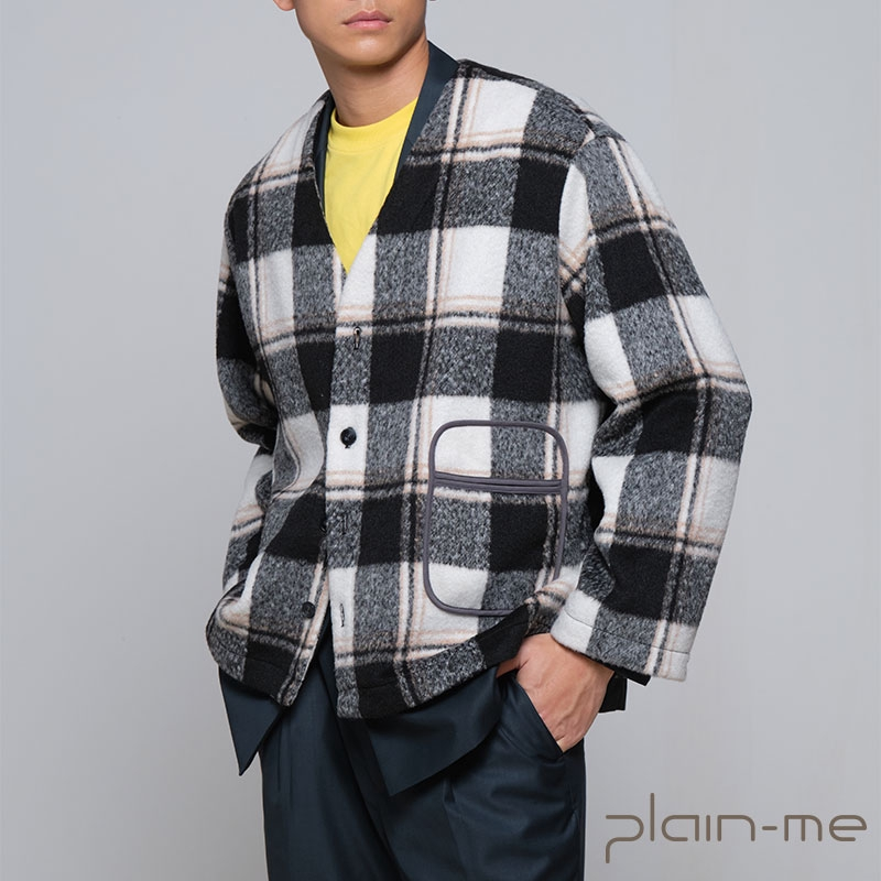 【plain-me】羊毛格紋混紡無領外套 COP11101