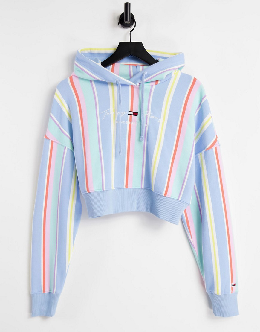 Tommy Jeans pastel collection cropped hoodie in stripe-Blue