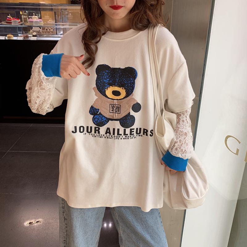 長袖T恤 超可愛少女雷蕾絲假兩件長袖 百搭2020秋裝寬鬆假兩件t恤女長袖蕾絲短袖