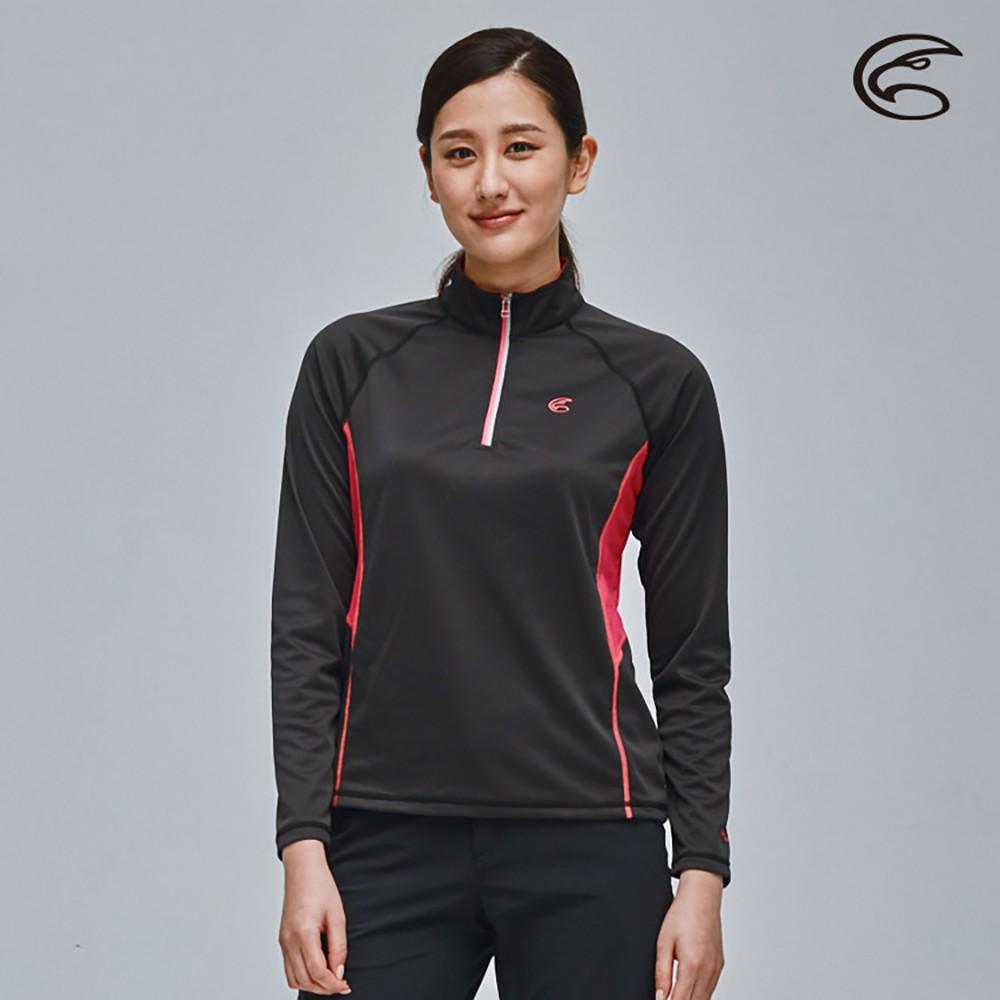 ADISI 女UPF50+防曬長袖半門襟排汗衣AL2111096【黑色】抗紫外線 彈性 吸濕速乾 防曬上衣