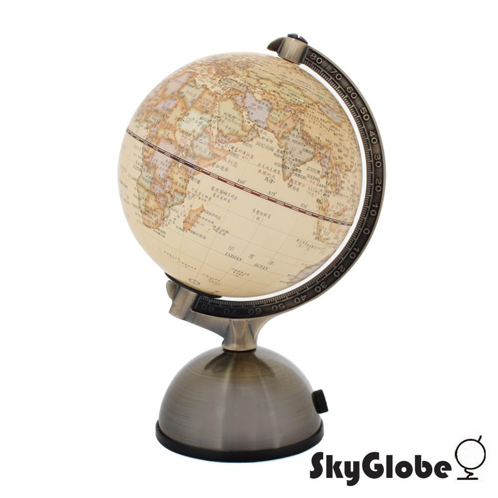 【SkyGlobe】 5吋古典仿古金屬底座地球儀《泡泡生活》附燈/中文版