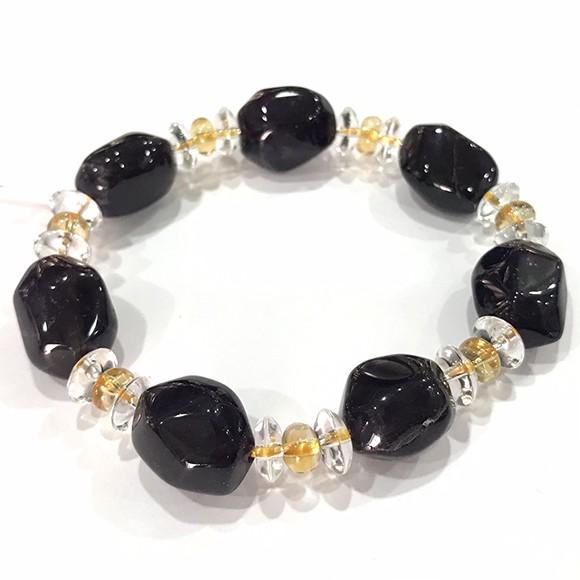 『晶鑽水晶』天然紫水晶+黃水晶+白水晶 隨行手鍊 大顆 不規則型 深紫色 招財 加強記憶力 開發智慧 男女都可配戴 禮物