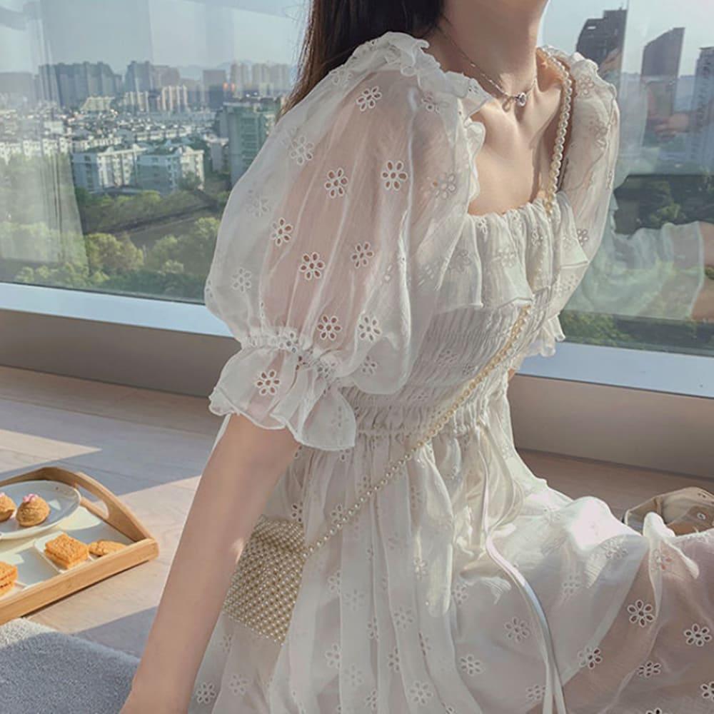 雪紡鏤空泡泡袖連身裙 VINA扉娜【預】ops210467