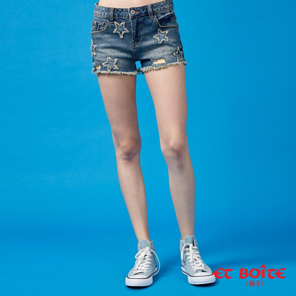 【6折限定】五角星立體彈性丹寧短褲(牛仔藍) - BLUE WAY  ET BOiTE 箱子