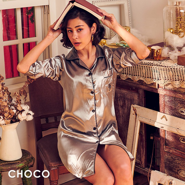 Choco Shop-月光甜心 雅致高質感緞面睡衣(銀灰色) M-XL