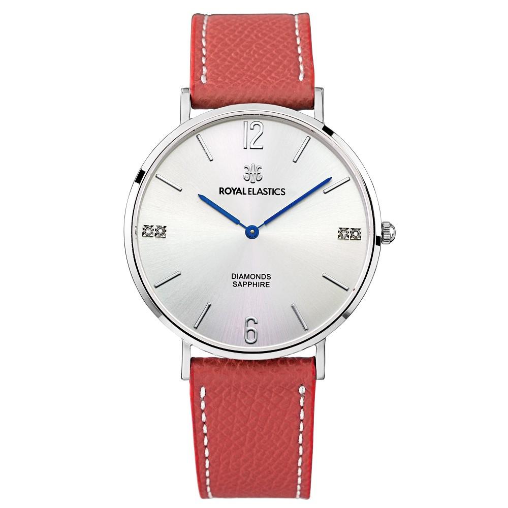 【ROYAL ELASTICS】皇室時尚石英腕錶(銀殼/銀面/紅錶帶)-大小尺寸