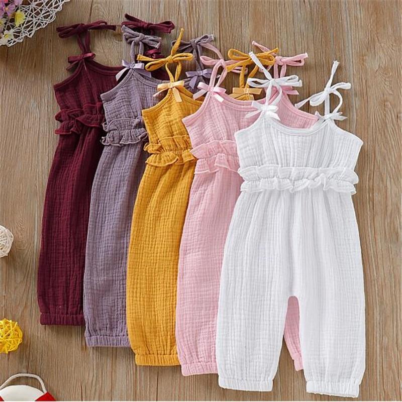 女嬰純色吊帶哈衣 棉麻透氣連體褲 寶寶可愛夏季連身裝