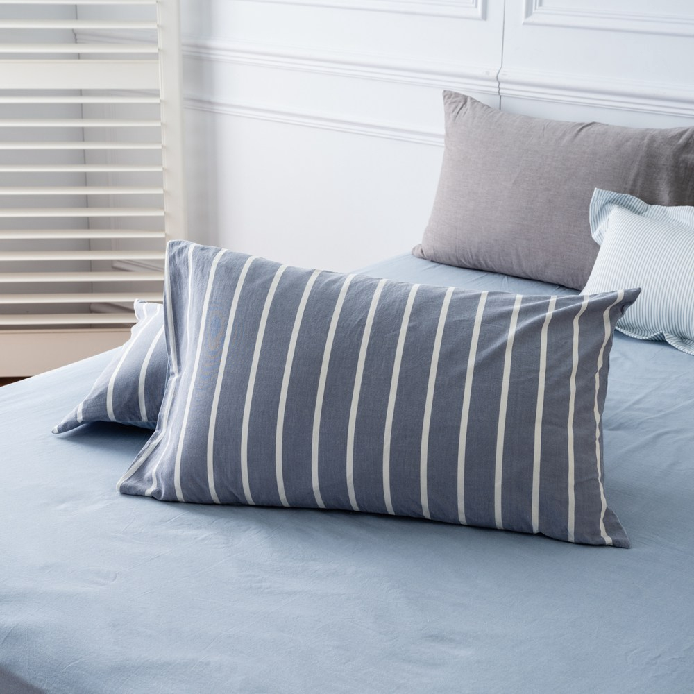 Hoi!台灣製水洗棉枕套-條紋藍 45X75cm-2入