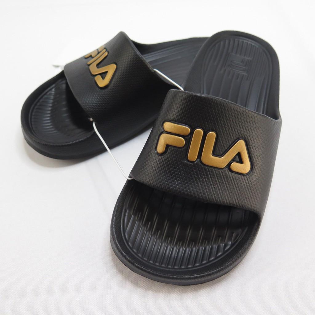 FILA 完全防水拖鞋 正貨 4S355T009 男女款 黑金 整數尺碼 23cm~29cm【iSport愛運動】