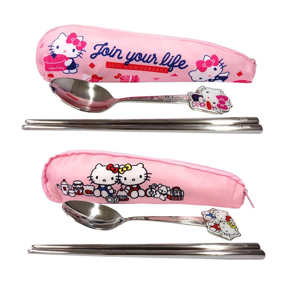 [三麗鷗] Hello Kitty不鏽鋼造型滴膠餐具二件組 附收納袋 共二款【網狐家居】[現貨]