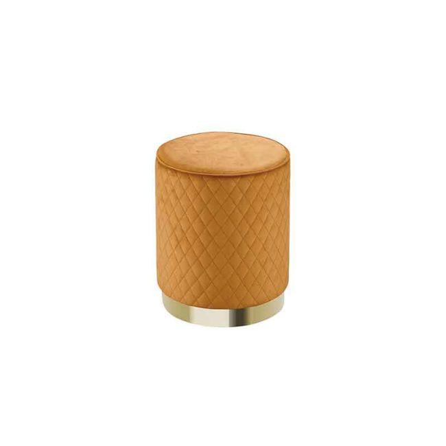 【GB247-9】萊典菱格紋黃色圓凳(L-01)
